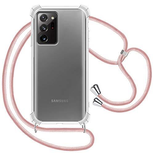 XTCASE Handykette kompatibel mit Samsung Galaxy Note 20 Ultra Hülle, Smartphone Necklace Handyhülle mit Band Transparent Schutzhülle Stossfest - Schnur mit Hülle zum Umhängen in Roségold