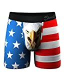 Shinesty Mens Boxer Briefs, Supportive Ball Hammock Mens Underwear with Pouch for Balls, Mens Sexy Underwear, Super Soft, Breathable and Moisture Wicking, 1 Pack X-Large Red American Flag Eagle