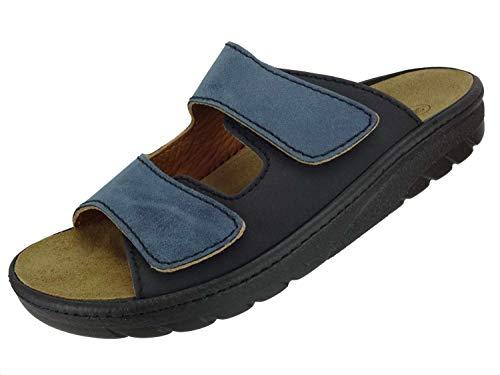 Algemare Herren Pantolette Leder Algen-Kork Wechselfußbett waschbar Nubuk Veluret 72602_8144 Sandalette Fußbettpantolette Herstellung in Deutschland, Größe:47 EU