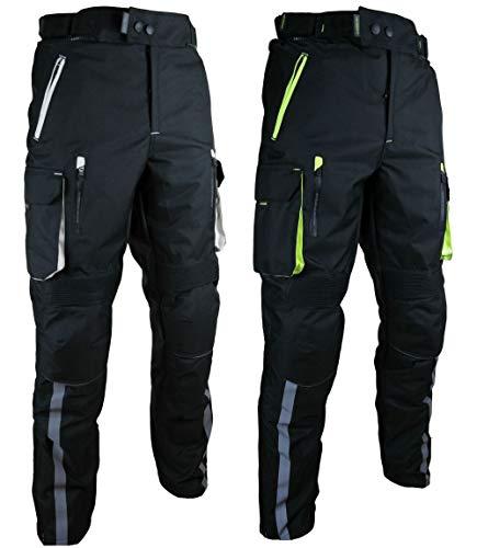 HEYBERRY Motorradhose Schwarz Neon Textil mit Oberschenkeltaschen Gr. XXL