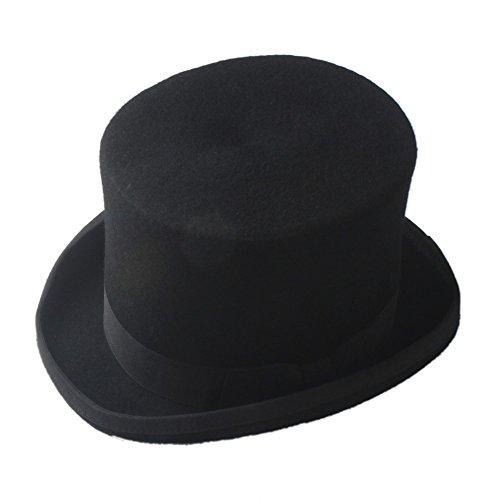 Xuguiping Steampunk Mad Hatter cilinder hoed victoriaans vintage traditionele wol Fedoras hoed cilinder hoed schoorsteen pet hoed xuguiping (kleur: wit, maat: 59cm)