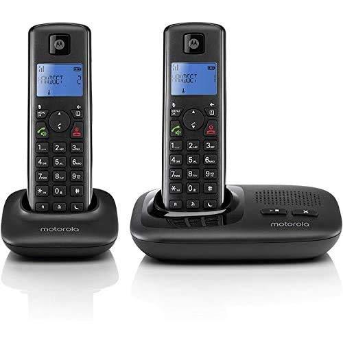 Motorola T412+ - DECT Digitales Schnurlostelefon mit Anrufbeantworter und ECO+ Modus - Doppelpack - Schwarz