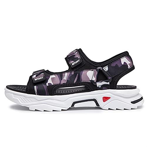 Sandalia de la sandalia de camuflaje de los hombres Sandalias de deporte de agua de agua cortadas de punta abierta zapatos resistentes a deslizamiento de punta flexible Playa superior de costura super
