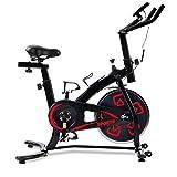 Bicicleta estática con consola LCD, cómodo cojín para entrenamiento cardiovascular, asiento ajustable y manillar (rojo)