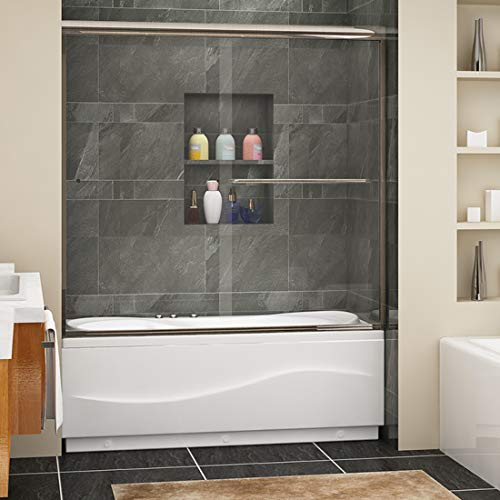 SUNNY SHOWER Glass Sliding Shower Door for Bathtub 60 W x 57.4 H inches Double Sliding Shower Bath-Tub Door 1/4 inches Clear Glass Shower Enclosure Doors for Bathroom with Brushed Nickel Finish