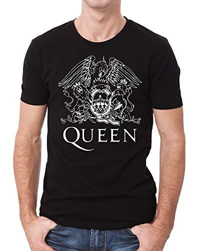 Queen T-Shirt Queen Classic Crest Men's Shirt Queen Band Logo Shirts for Men (Large) Black