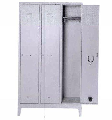 COARME - Armadio spogliatoio in metallo 3 posti misura 101x50x180 con serratura