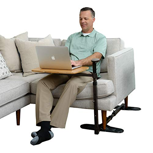Stander Omni Tray Table, Adjustable Bamboo Swivel TV and Laptop Table with Ergonomic Stand Assist Mobility Handle, Independent Living Aid