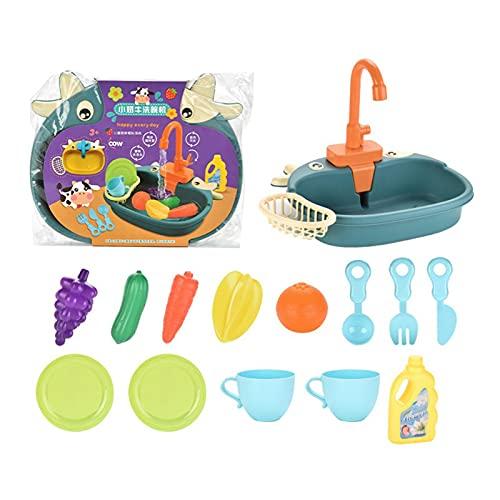 perfeciti Juguetes De Cocina con Lavavajillas Eléctricos, Juegos De Juguetes De Cocina para Lavar Juguetes Vegetales, Juguetes De Simulación para Niños para Niños Y Niñas, Que Funcionan con Pilas