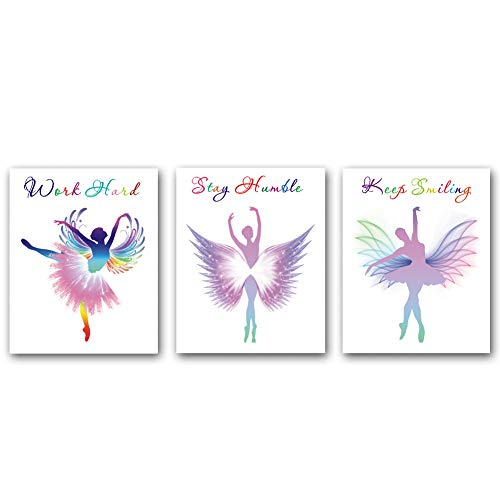 3 Set-Watercolor Ballet Dancers Inspirational Quote Wall Art Painting,Watercolor Yoga Poster, Watercolor Elegant Dance Art Paintings,Fashion Women or Gir Bedroom Dance Studio Living Room Decor Gift (Frameless,8×10inch)