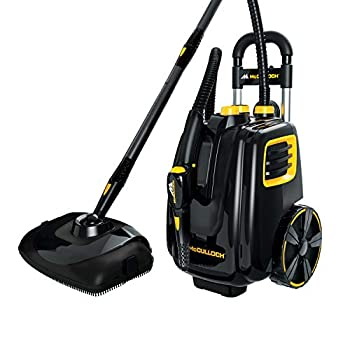 McCulloch MC1385 Deluxe Canister Steam Cleaner with 23 Accessories Chemical-Free Pressurized Cleaning for Most Floors Counters Appliances Windows Autos and More 1- Pack  Black
