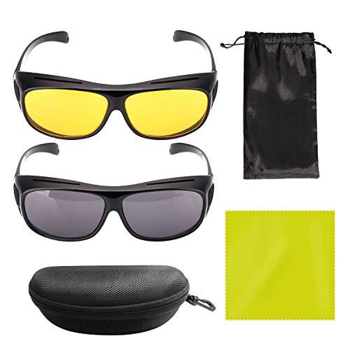 YLX Gafas de sol y gafas de conducción, Gafas de visión Nocturna HD sobre Envoltura Alrededor de Gafas de Sol Protectoras UV Gafas de conducción Nocturna Multiusos