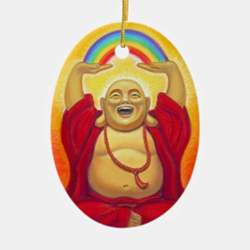 happygoluck1y Laughing Buddha Rainbow Ornament,Oval Porcelain Christmas Ornaments,Christmas Tree Decoration Ornaments,2020 Quarantine Gifts,Keepsake Ornaments,for Kids