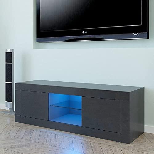YANJ US Warehouse LED dos puertas TV gabinete negro mesa final TV soporte dropshipping 125 x 35 x 40 cm