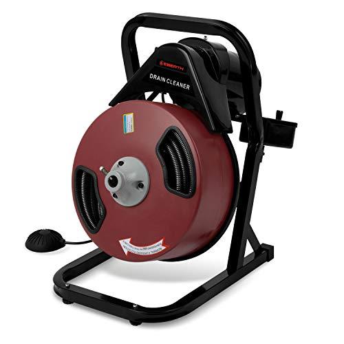 EBERTH Rohrreiniger Rohrreinigungsmaschine Elektrisch mit 20 m Langer Spirale (400 Watt, 230 Volt, 13 mm Spiraldurchmesser, geeignet für Rohre mit 5-10 cm Durchmesser, 4 Cutter inklusive)