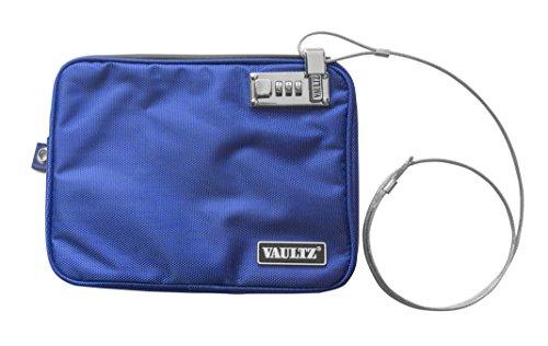 Vaultz Locking Pool Pouch with Tether, Medium, 7.5 x 9 Inches, Blue (VZ00724)
