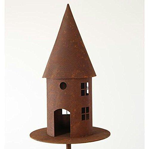 Modernes Vogelhaus als Gartenstecker - Material: Rost - Höhe 45cm / Ø 22cm / Länge Stab 150cm
