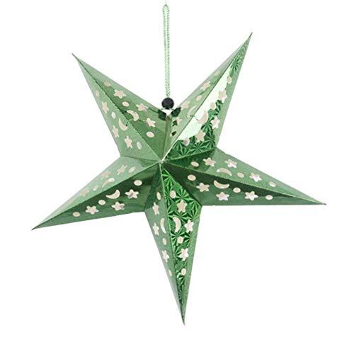 KESYOO 45cm Weihnachtsstern Papier Lampenschirm 3D Papierstern Laterne Star Lantern für Weihnachten Xmas Silvester Hochzeit Party Hängende Dekoration Ornament Fensterdeko Grün