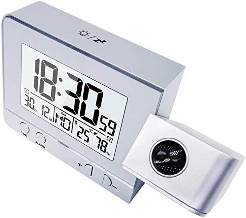 KKmoda Reloj de proyección Reloj Despertador Digital con 3 Brillos, Reloj de cabecera con Alarma Doble, 12 / 24H, Snooze, Temporizador de Apagado con Cargador USB (Plata)