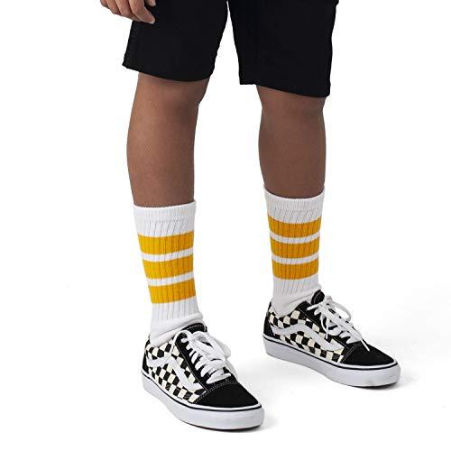 skatersocks 14 Inch Kinder Unisex Tube Socken für Jungen und Mädchen (weiß/gelb)