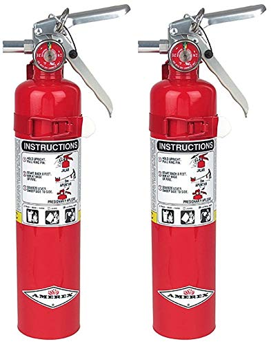Amerex B417 BHLMPOI, 2.5lb ABC Dry Chemical Class A B C Fire Extinguisher, with Wall Bracket, 2 Pack