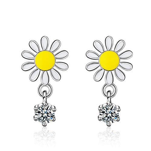 Pendientes para mujer de Rapidly, con diseño de sol y flor, de plata de ley 925, con piedras brillantes