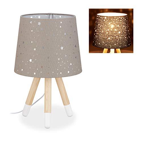 Relaxdays Lámpara de mesa para habitación infantil, lámpara de noche de estrellas, niños y niñas, E14, pantalla redonda de tela, 40 cm de alto, color gris