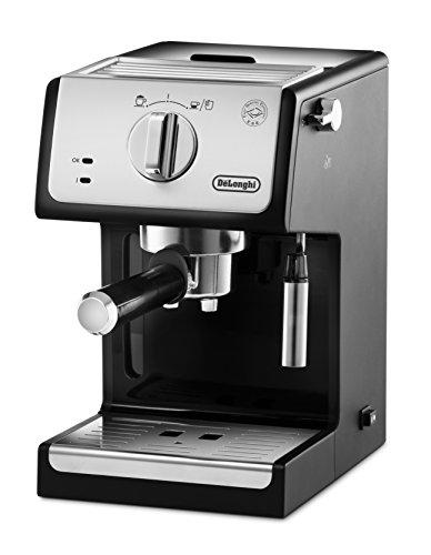 De'Longhi ECP 33.21 Espresso Siebträgermaschine | Siebträgerhalter mit Aluminium Finish | Milchschaum Düse | Filtereinsatz für 1 oder 2 Tassen Espresso | Auch für Pads Geeignet | Schwarz-Silber