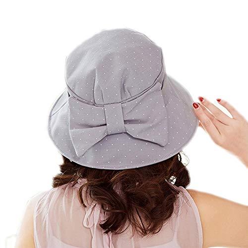 Drawihi Baumwollhut Sonnenhut Damen Faltbarer Damen Strandhut Damen mit schöner Schleife-56-58 cm Gr. Einheitsgröße, Grau