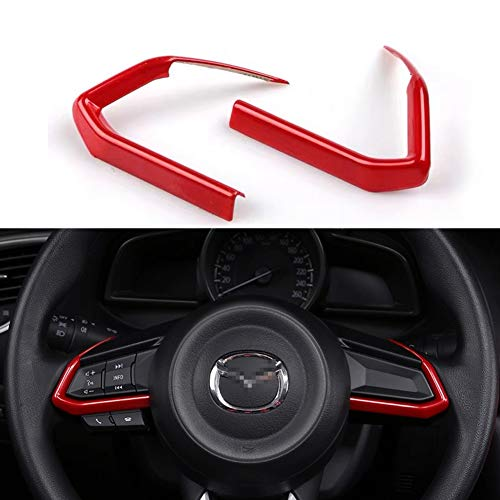 Duoles 2 PCS Red ABS Car Styling Auto Accessories Interior Decoration Steering Wheel Buttons Sequins Cover Trim for Mazda 3 6 CX-4 CX-5 CX-9