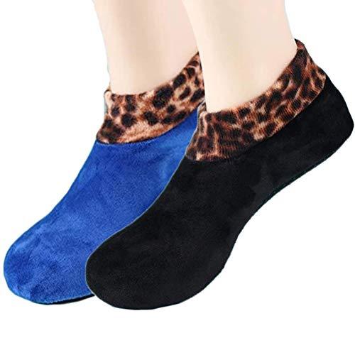Qhome Yoga-Socken 2 Paar Rutschfeste Yoga-Thermosocken Damen-Leoparden-Bodensocken Doppelte Schicht Plus Samtverdickende Socke für Pilates Barre Ballett Tanz Barfuß-Training (Schwarz &
