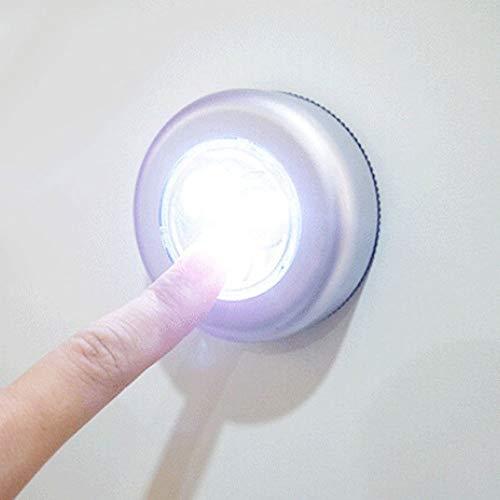 CHENJIA Wireless Mini 3 LED Empuje la lámpara del Tacto del gabinete de Cocina Armario de Pared de luz la Noche, 6 Pack