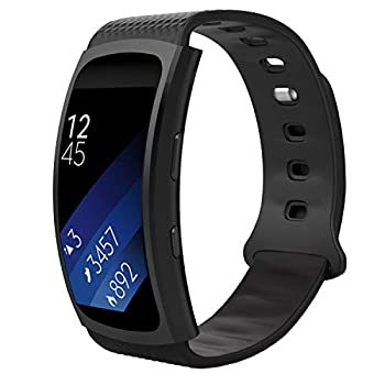 MoKo Watch Band Compatible with Samsung Gear Fit2 / Gear Fit2 Pro Soft Silicone Replacement Sport Band for Samsung Gear Fit 2 SM-R360 / Fit 2 Pro Smart Watch BLACK  Fits 5.90 -8.38