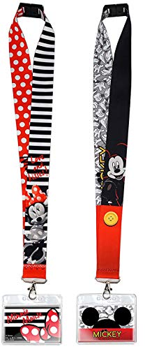 Disney Lanyards with ID Holders- Mickey and Minnie Mouse Premium Lanyards for Kids and Adults - Perfect for Disney Cruise, Disney World Accessories and Keychain - 2 Pack