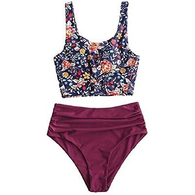 ZAFUL Beach Swimwear Ruched Knot Plant Print Tankini Swimsuit