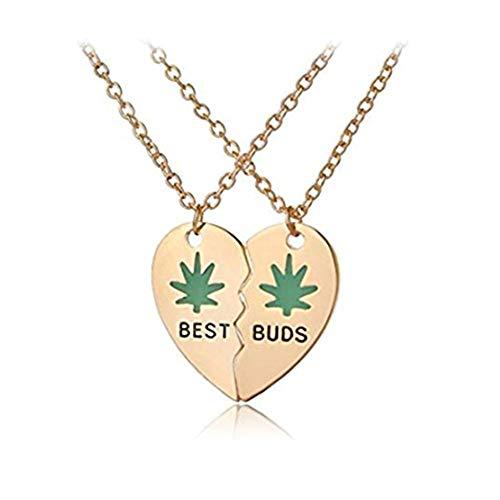 Handmade accessories Best Buds - Collares de la amistad con hojas de cannabis, plata u oro