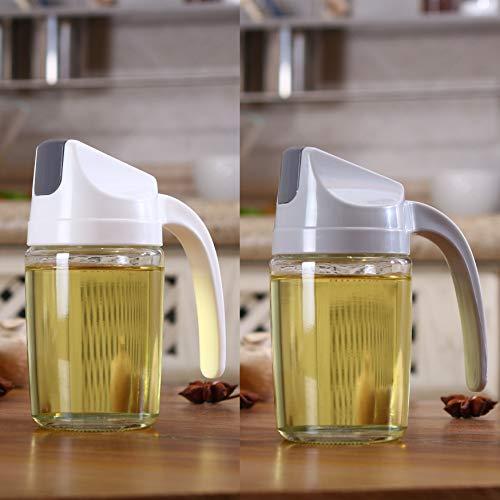 KyNaj 10 OZ set of 2 Olive Oil Dispenser Automatic Flip Cooking Oil Dispenser Bottle for Kitchen Glass Cruet Bottle With Automatic Cap and Stopper Oil and Vinegar Dispenser Set KO-03C