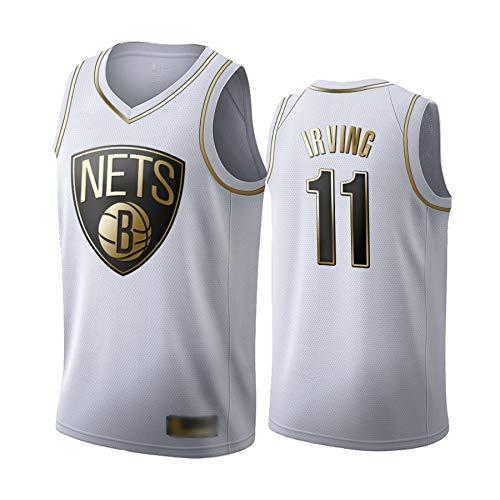WOLFIRE WF Camiseta de Baloncesto para Hombre, NBA,Brooklyn Nets # 11 Kyrie Irving. Bordado, Transpirable y Resistente al Desgaste Camiseta para Fan (Golden Edition 2020 Blanca, L)
