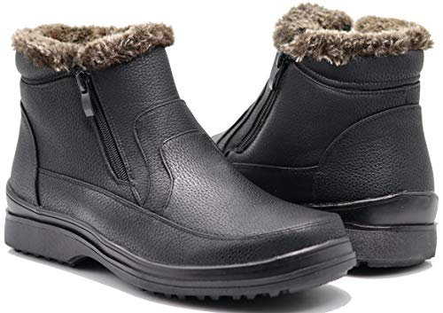 Enzo Romeo RU2N Men's Winter Cold Weather Snow Boots with Fur Fleece Lining Slip On Shoes (10.5 D(M) US) Black