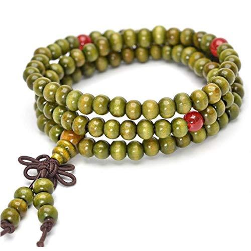 Buda Pulseras De Perlas De Los Granos De Rezo Budistas Pulseras De Perlas De Collar Elástico Budista Brazalete De La Muñeca Verde del Ornamento