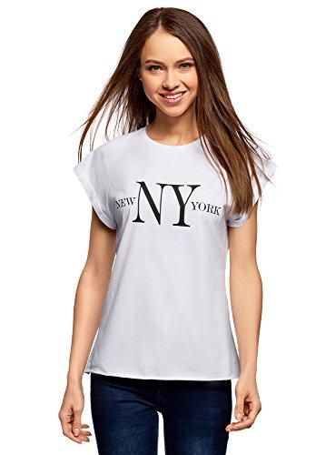 oodji Ultra Mujer Camiseta con Inscripción y Borde Inferior No Elaborado, Blanco, ES 36 / XS