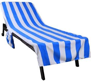 Funda protectora para tumbona y tumbona (212 x 75 cm, poliéster de algodón), rizo para tumbona de jardín, toalla de playa, suave e higroscópica.