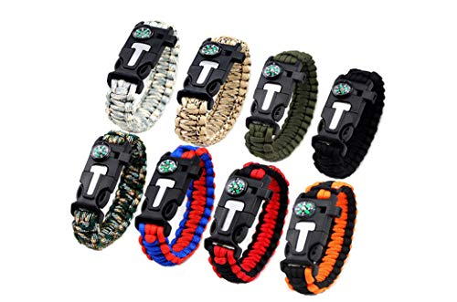 Kissmi 8 Pack Paracord Bracelet Survival Gear with Compass, Fire Starter, Whistle And Emergency Knife,Best Wildness Survival -Kit for Camping/Hiking