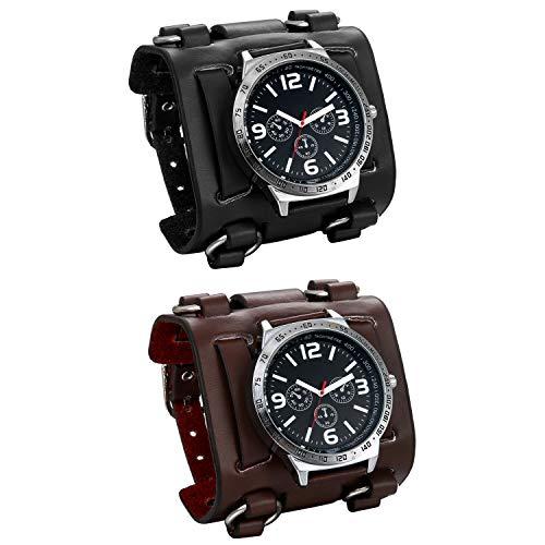 JewelryWe 2pcs Herren Armbanduhr Analog Quarz 30M wasserdichte Sportuhr Uhren mit Breit Leder Echtleder Armband, Schwarz Braun