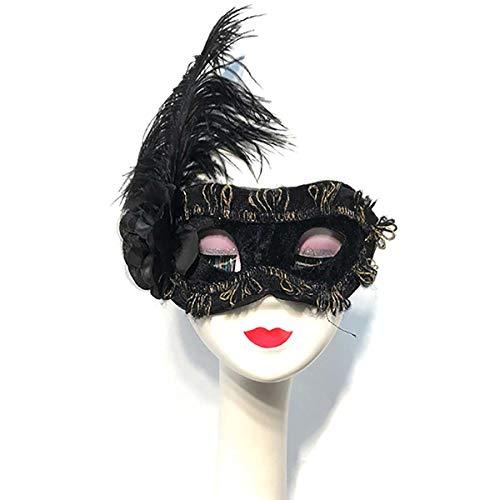 HHUMR Mujeres Hombres Negro Pluma Mscara De La Mascarada De Venecia Media Cara, Personalidad Puesta En Escena Vspera De Todos Los Santos Mascara Rey Cosplay,Negro