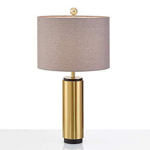 XFSE Lámpara de mesa posmoderna minimalista dorada lámpara de mesa cilíndrica diseño de hierro de diseño creativo de hotel dormitorio lámpara de mesa 36 x 63 cm