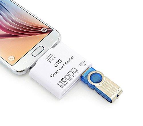 Media Wave Store 5-in-1 geheugenkaartlezer met micro-USB-aansluiting, wit