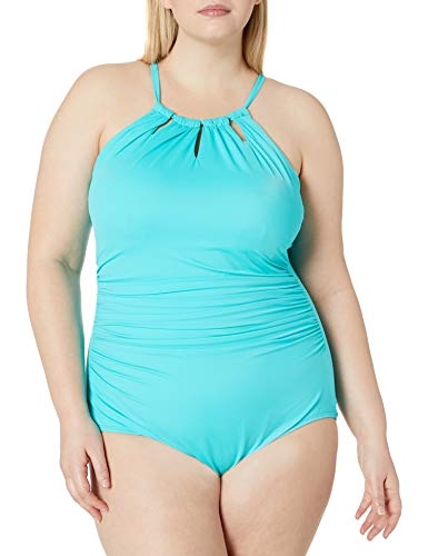 Amazon Brand - Coastal Blue Women's Plus Size Control One Piece Swimsuit, Teal, 1X (16W-18W)