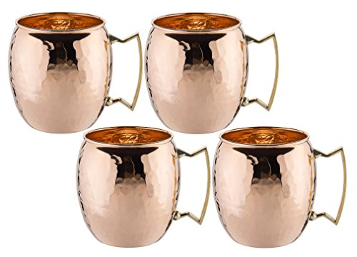 Old Dutch International, Purveyors of the ORIGINAL MOSCOW MULE MUG, 100% Pure Copper, Unlined Hammered Moscow Mule Mug, 16-Ounce, Set of 4