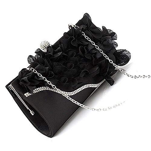 Sac À Main Lady Satin Clutch Bag Flower Evening Party Wedding Purse Chain Shoulder Handbag Black